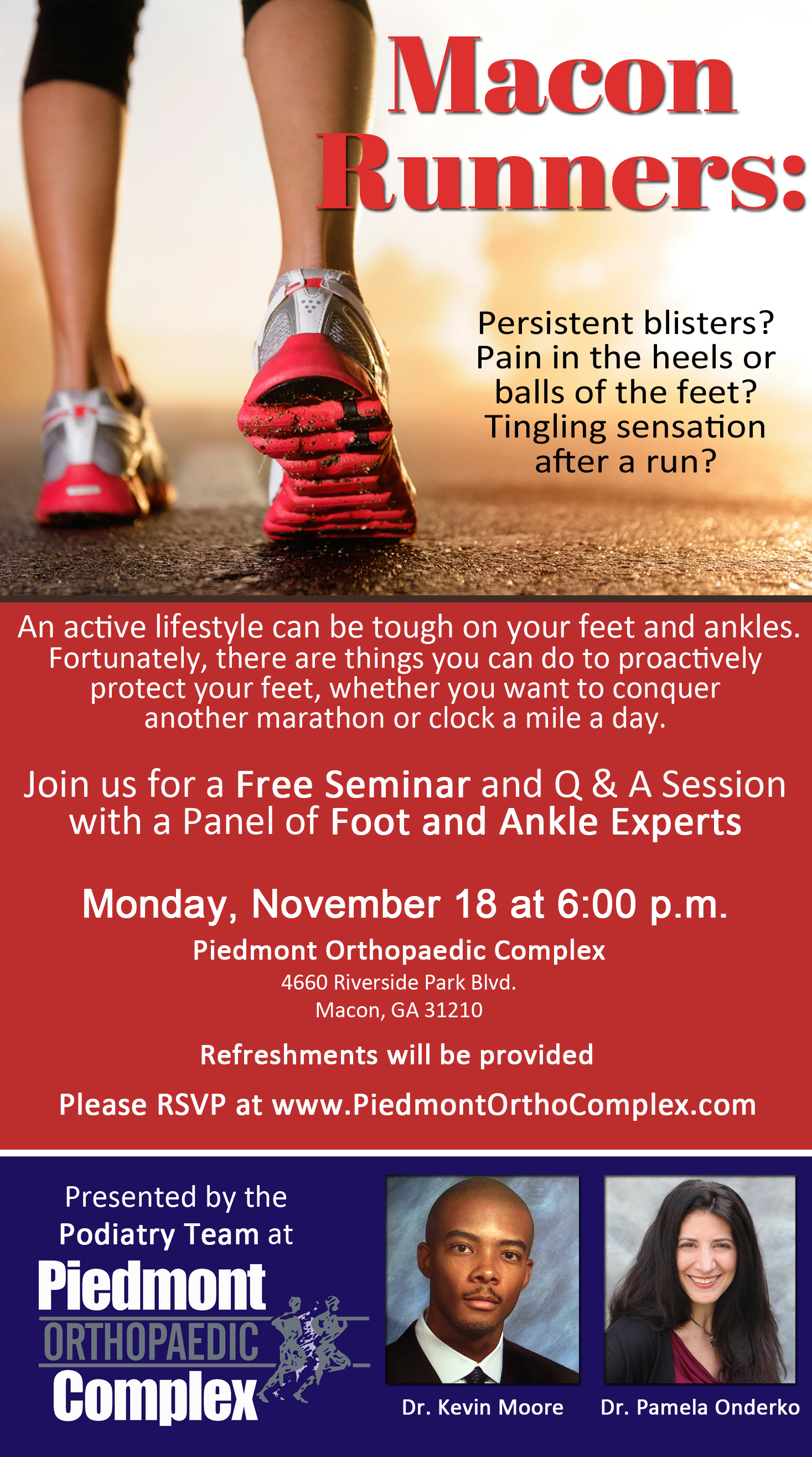 Foot Care for Runners - Monday, November 18 at 6 pm at Piedmont Ortho Complex